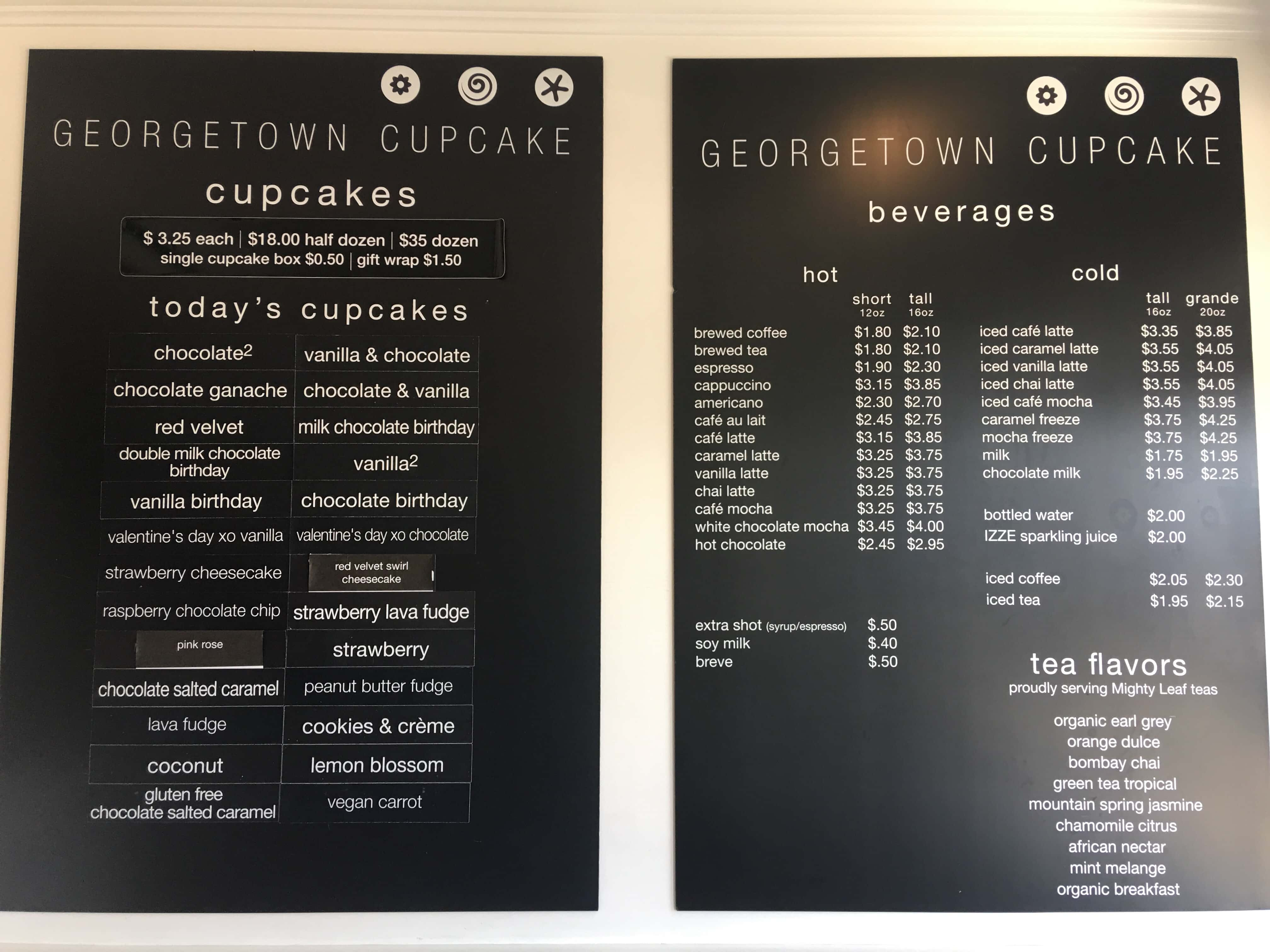 Georgetown Cupcake Shop Menu