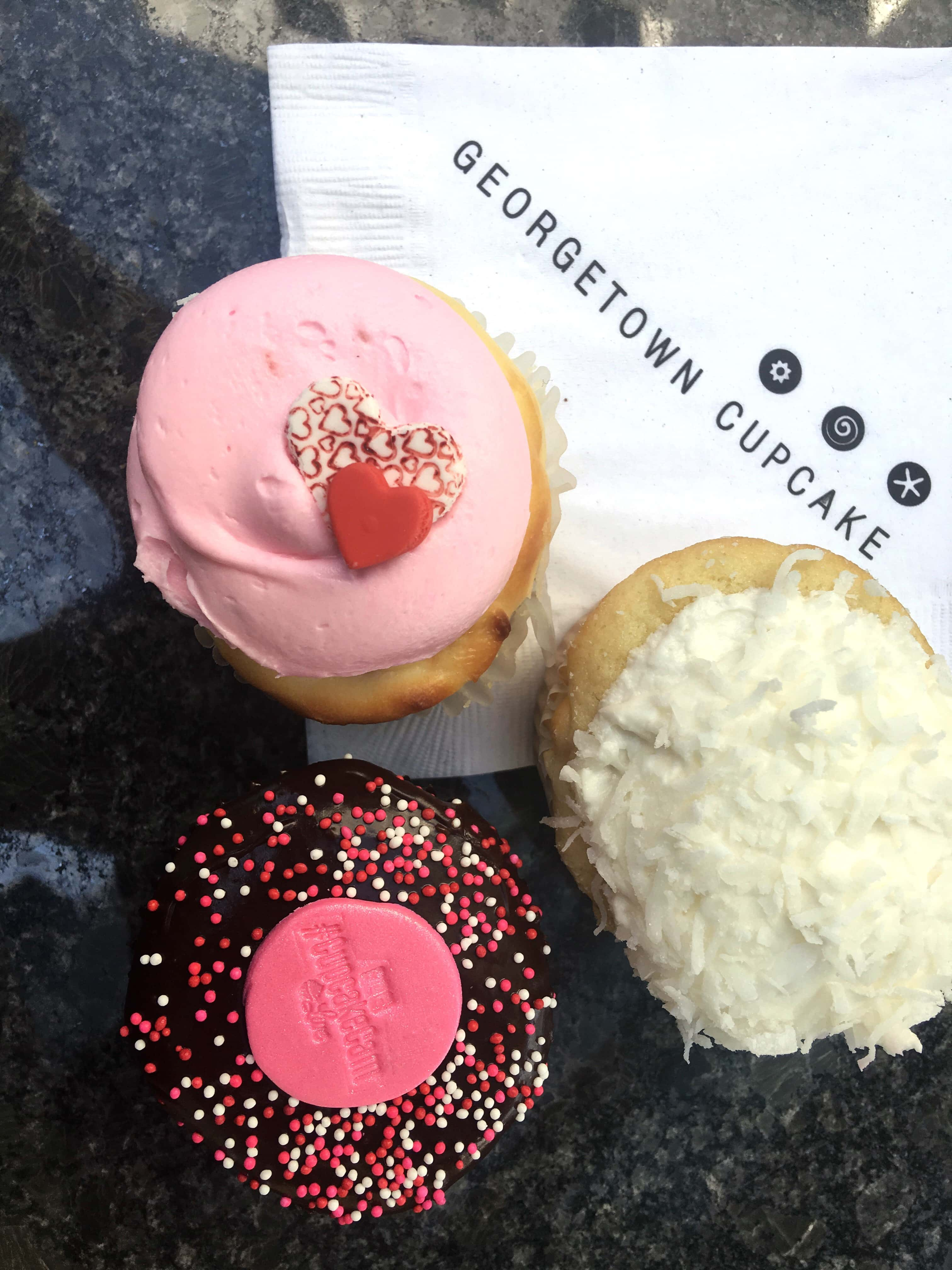 A collection of cupcakes from Georgetown Cupcake Shop in Los Angeles