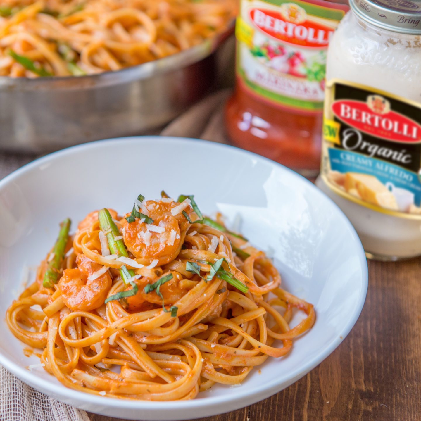 Get   Your   Family   Hooked   On   Shrimp   and   Asparagus   Pasta   with   Bertolli®   sauces