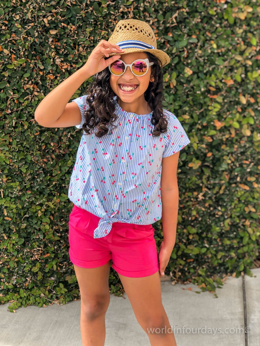 Little girls Pink Chino Shorts perfect for spring. Kids OOTD | Kids Fashion | Shorts For Tall Kids | Oshkosh |