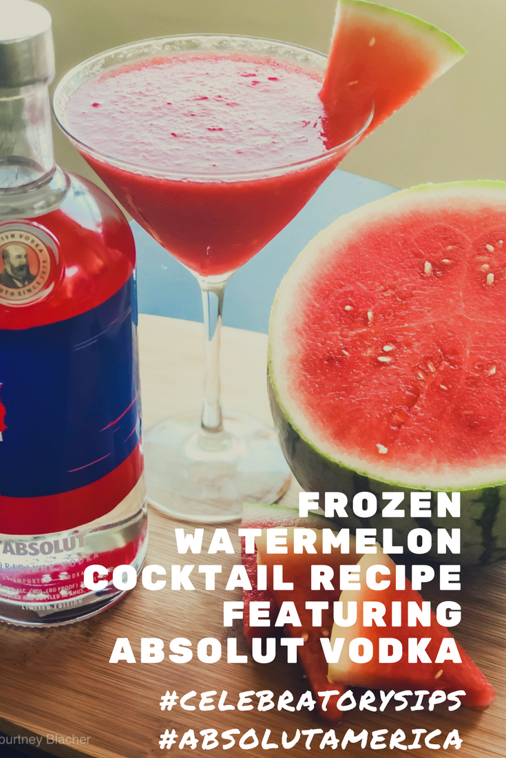 MSG 21+ It's not summer for me until I'm poolside sipping a cocktail. This easy Frozen Watermelon Cocktail Recipe calls for only two ingredients (watermelon and Absolut Vodka) and is sure to be a hit all summer long. #CelebratorySips #AbsolutAmerica #CollectiveBias