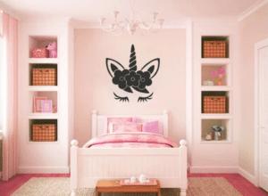 Zoomie Kids Hogue Unicorn Face Sleeping Vinyl Wall Decal Wayfair - THE CUTEST TWEEN UNICORN BEDROOM DECOR ROUNDUP