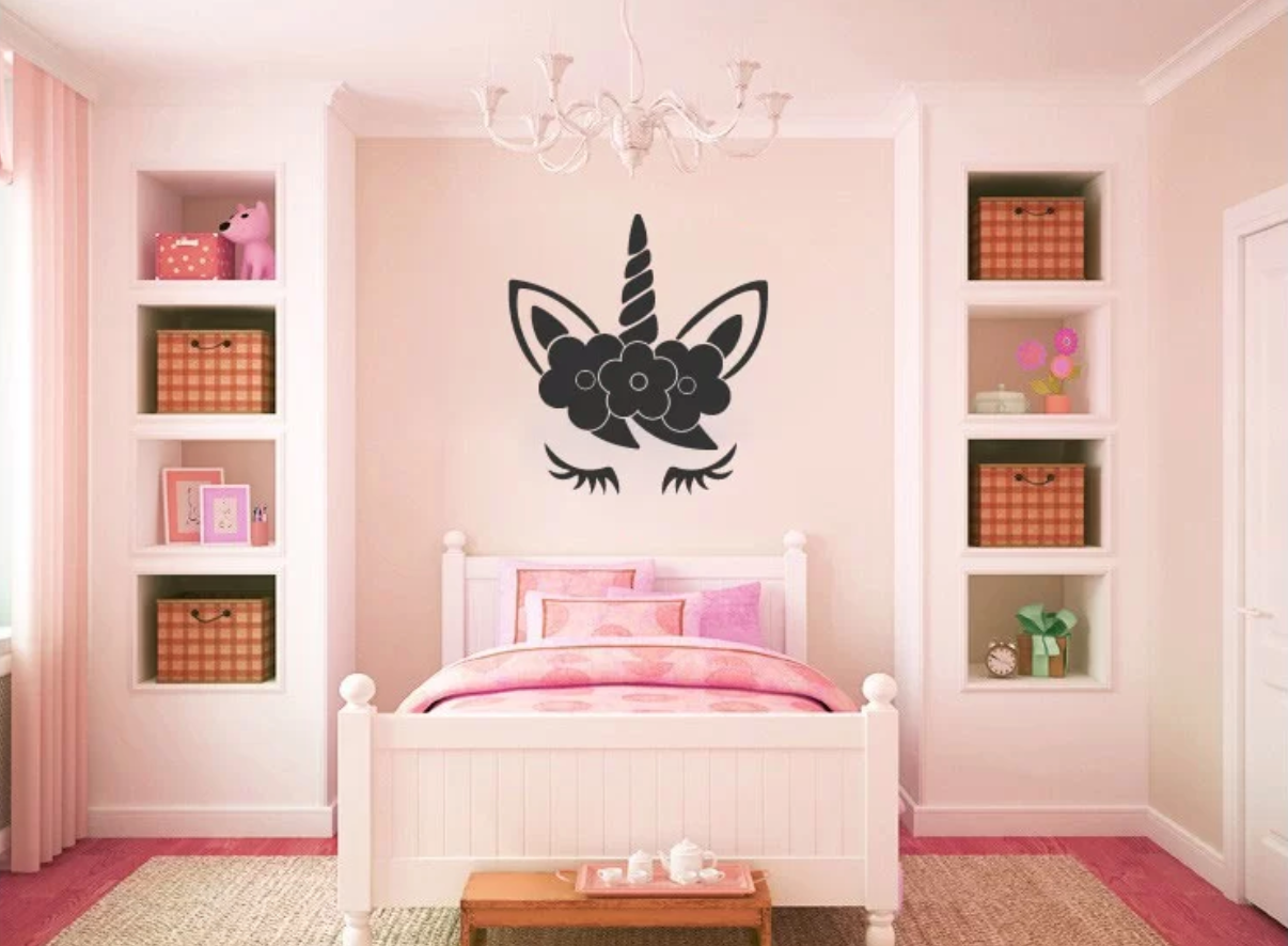 Zoomie Kids Hogue Unicorn Face Sleeping Vinyl Wall Decal Wayfair - THE CUTEST TWEEN UNICORN BEDROOM DECOR ROUNDUP